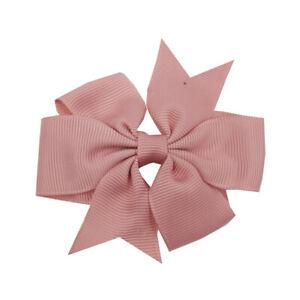 "3"" 3 inch small Baby Girls kids Ribbon Hair clip Bows clips cute bow School Pair"