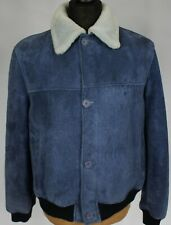 Suede Leather Vintage Sheepskin Jacket Blue 40R Medium L070