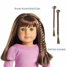 """American Girl MY AG ACCENT BRAID CLIPS BROWN for 18"""" Doll Hair Extension Retired"""