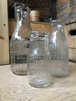 Vintage Quart Pint Half Milk Bottles Lemont Dairy Co. Chicago Illinois Bottle