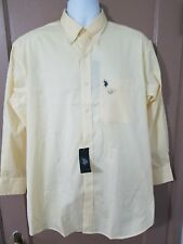 Men's US POLO ASSN L 16-16 1/2 32-33 Reg Wrinkle Free yellow Shirt NWT $42