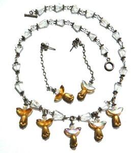 HANDMADE BEADED NECKLACE EARRINGS SET sterling silver quartz AB golden tulip B4