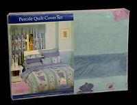 POLY COTTON Ashley Aqua Purple 250TC QUEEN QUILT COVER DUVET SET &2 PILLOW CASES