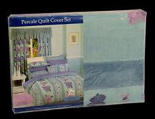 POLY COTTON Ashley Aqua Purple 250TC QUEEN QUILT COVER DUVET SET +2 PILLOW CASES