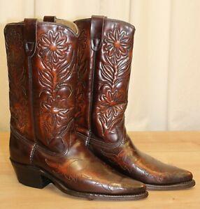 Bottes boots santiag femme vintage cuir marron 8,5 D US 40,5 FR made in USA