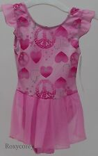 Jacques Moret Girls Pink with Hearts Sleeveless Leotard Skirtall XSmall 4/5 NWT