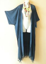 CD370 Solid Blue Cardigan Duster Beach Kimono Maxi Dress Wrap - 2X, 3X, 4X & 5X