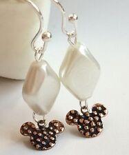Mickey Mouse Ears Earrings Silver Plated White Pearl Dangle Disney Pierced USA