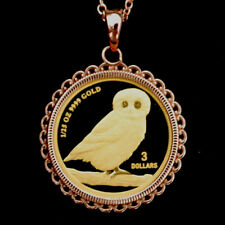 2008 Tuvalu 1/25 oz .9999 Fine Gold BU Unc Proof Coin Necklace NEW -  Wise Owl