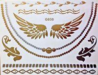 Flash Einmal Temporary Klebe Tattoo Gold Silber 10teile Armband Hals Kette G30