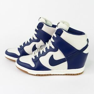Nike Dunk Sky Hi High Hidden Wedge Heel Essential White Blue Gum Womens 7.5