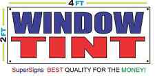 2x4 Window Tint Banner Sign Red White & Blue New Discount Size & Price