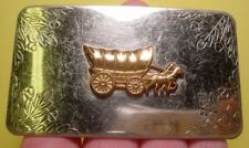 Old NICKEL SILVER CONESTOGA 2 Horse Covered Wagon Belt Buckle