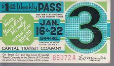 Trolly/Bus pass capital Transit Wash. DC--1944-----71