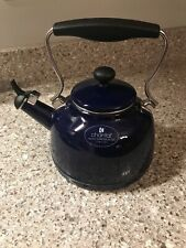 Chantal 1.7 Quart Durable Enamel on Steel Vintage Stovetop Tea Kettle, Blue Used