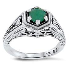 Sterling Silver Ring Size 4.75, #128 Genuine Emerald Antique Deco Design 925