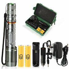 Rechargeable LED Zoomable Torch Light Lamp Flashlight + 2 Batteries + AC Charger