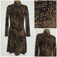 Warehouse Animal Print Soft Stretch Jersey Fit & Flare Dress 6 - 16 (wh-2e)