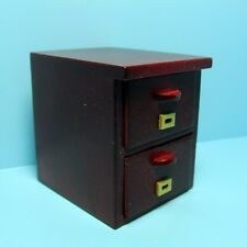 Dollhouse Miniature Mahogany Wood Two Drawer File Cabinet ~ T3562A