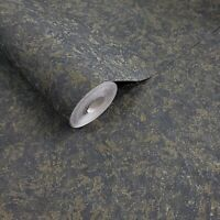 Dark Green Gray gold metallic Plain textured Faux plaster texture Wallpaper roll