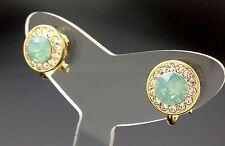 Circle Clip-On Stud Earring Swarovski Opal Green And Clear Crystal Gold 11mm