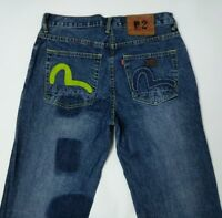 Evisu No 2 Mens Jeans Indigo Straight Fit Floral Vintage Green W31 L35 RRP£265