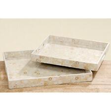 Tablett aus Holz creme-weiß mit Perlmuttscheiben 42cm
