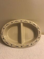 Longaberger Woven Tradition Classic Blue Pottery Divided Serving Vegetable Dish