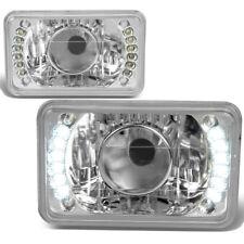4x6 H4656 SQUARE CHROME HOUSING GLASS PROJECTOR LED HEADLIGHT+H4 BULB+BLUE LAMPS