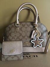 🎁 NWT Coach Signature Rose Gold Mini Sierra Crossbody WALLET KEYCHAIN Gift Set