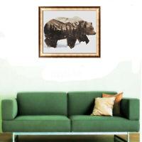 40*50cm Canvas Paint By Number Kit Winter Snow Bear DIY Picture Art Home Decor