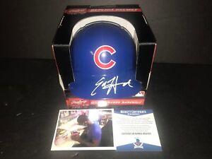 Ed Howard Chicago Cubs Autographed Signed Mini Helmet Beckett WITNESS COA