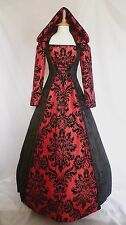 Medieval Dress Renaissance Hooded Gown Gothic Dress Ready Made Size 10 - 12
