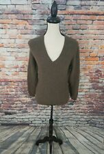 Barbour Scotland Women's Brown V-Neck Merino Wool Angora Pullover Sweater Sz S-M