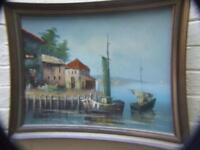 Vintage Oil Painting '' Seascape  Italian Village w Boats '' Signed & Framed Art