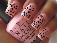Nails Wraps Art Decal for Natural Acrylic Water Transfer Black Stars Hearts Y143