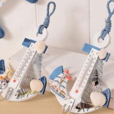 Hanging Hook Anchor Thermometer Beach Shells Nautical Wall Home Decor Rakish
