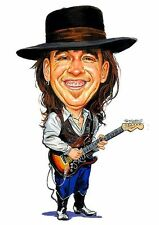 Stevie Ray Vaughan Caricature Blues Rock Guitarist Sticker or Magnet