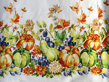 DOUBLE BORDER FABRIC PUMPKINS AUTUMN HARVEST LEAVES FLORAL 100% COTTON  YARDAGE