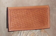 "Custom Western Leather Checkbook Cover Holder, Basket Weave, ""Free Initials"" G&E"