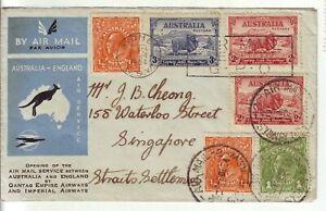 1934  QANTAS  AIR FLIGHT  SYDNEY - SINGAPORE - ENGLAND   1 NICE COVER