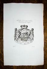 1816 Wappen Kupferstich Tyroff Löwenstein-Wertheim-Freudenberg