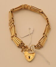 9ct Yellow Gold Gate Bracelet with Heart Padlock - 14.4g - Estate Jewelry