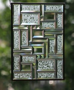 """Clear Reflections 18 1/2"""" x 13 1/2"""" - Beveled Stained Glass Window Panel"""