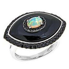 RARITIES Carol Brodie Evil Eye Black Onyx Opal Black Spinel Ring 6 $419