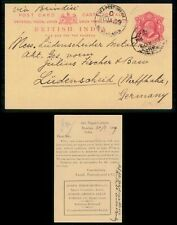 Mayfairstamps India 1909 Bombay-Aden Sea Post to Germany Postal Stationery Card