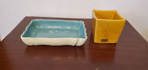 Haeger Pottery #3716 Orange Square Planter & Blue/Beige Console Dish Signed
