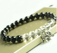 Handmade Natural Black Chalcedony & White Crystal Tibet Silver Elephant 6MM