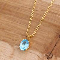 Natural Swiss Blue Topaz Oval 14k Gold Filled Pendant Necklace 18 Inch Chain