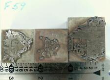 Letterpress Print Christmas Ornament Cut X2 2c Holly Bells 1c Fireplace F59 2